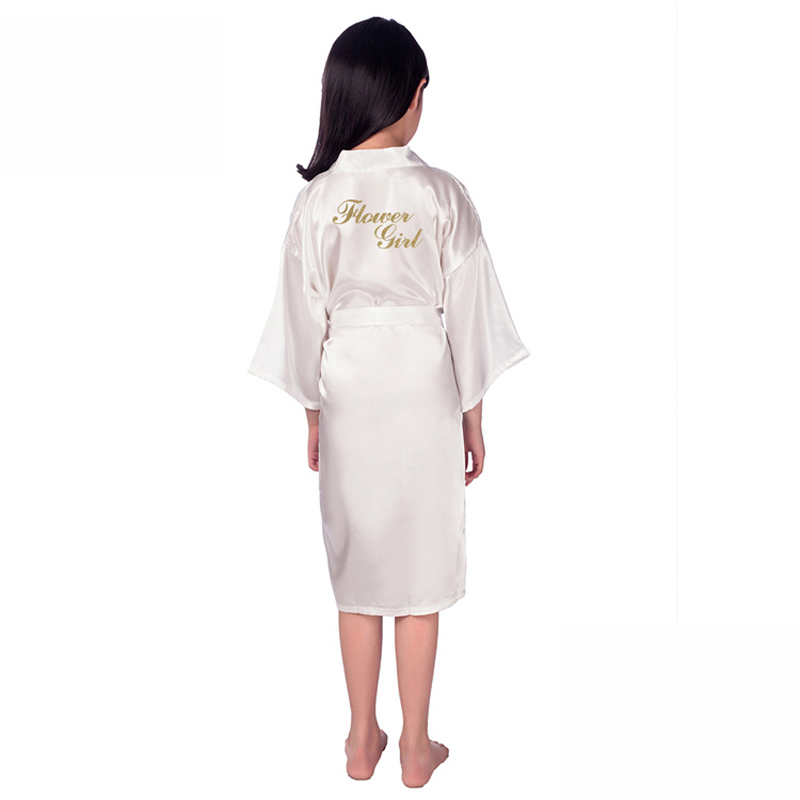 41c28ddf4d Flower Girl   On the Back Wedding FLower Girl Robe Solid Bathrobe Short  Night Robe