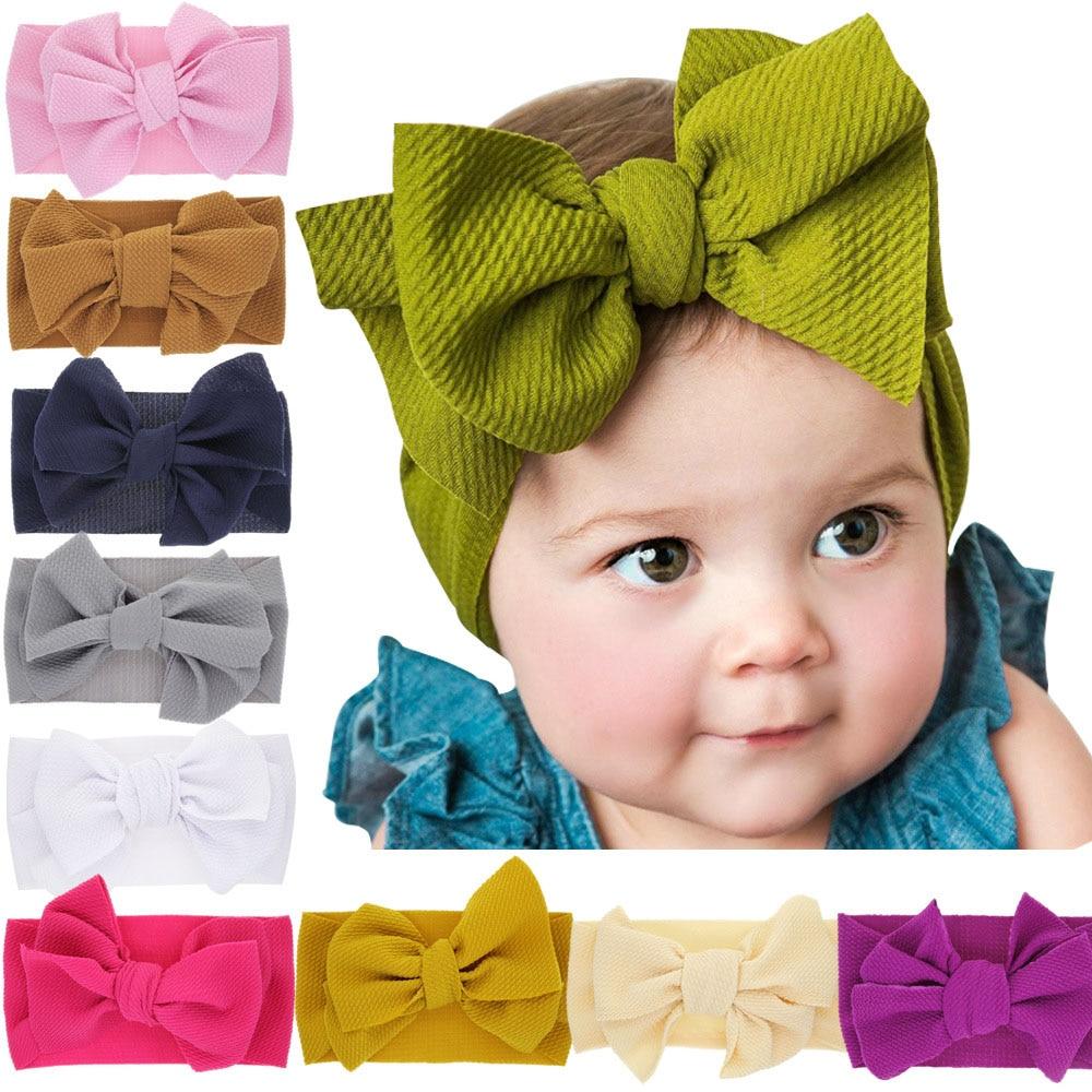 USA Soft Baby Girls Kids Toddler Bow Hairband Headband Turban Big Knot Head-Wrap