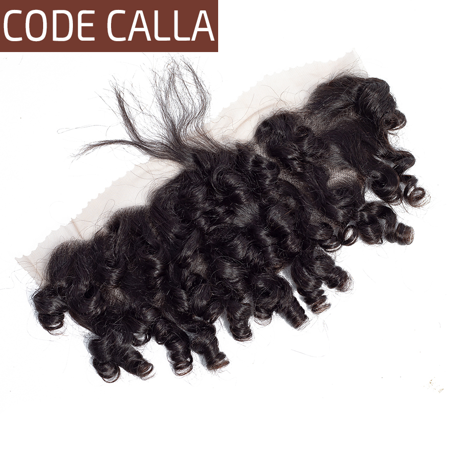Code Calla Short Cut Brazilian bouncy Curly 13 4 Lace Frontal Closure Free Part Remy Human