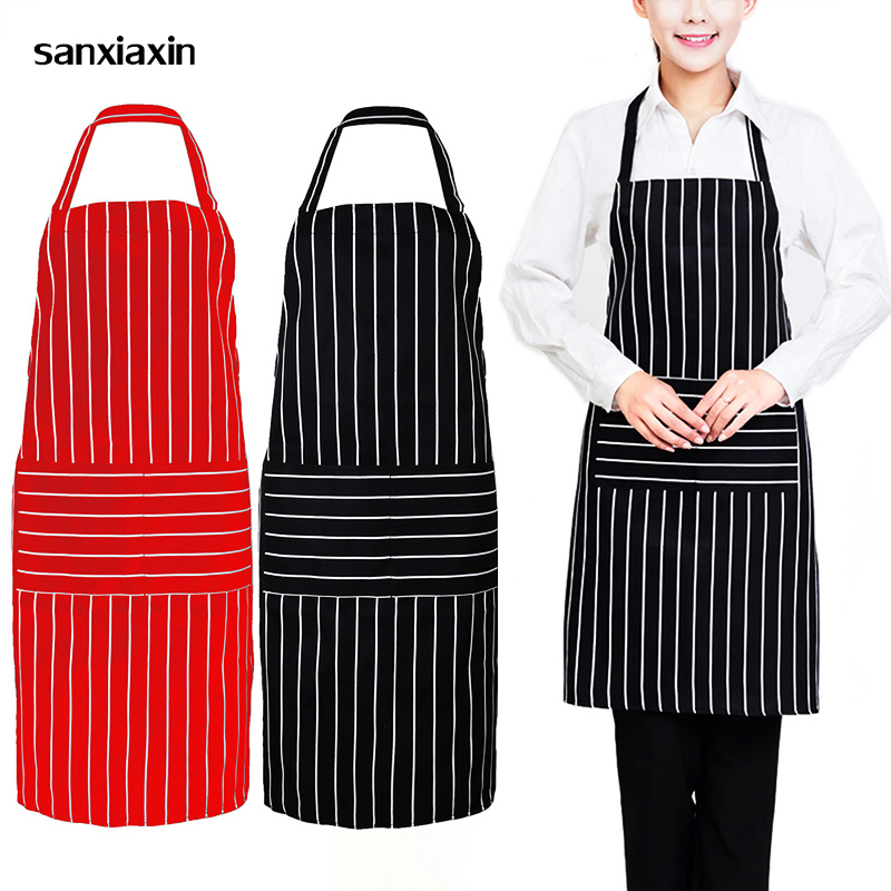Home Latest Collection Of Wholesale Unisex Restaurant Kitchen Apron Adjustable Half Body Adult Apron Striped Hotel Chef Waiter Short Kitchen Cooking Apron