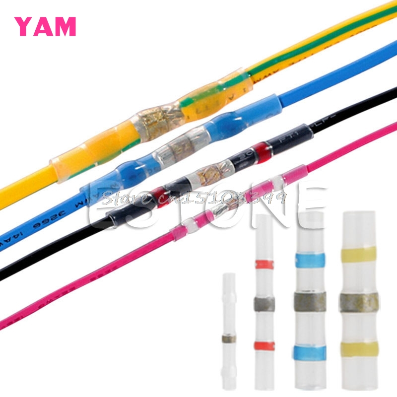100Pcs 26 10AWG Assorted Solder Sleeve Heat Shrink Butt Wire Splice Connector G205M Best Quality