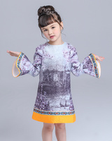 Princess Dress Spring Autumn High Quality Kids Clothes Chinese Style Girl Dresses Long Sleeve Print Children
