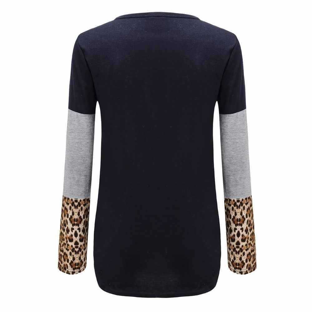 783da4e12e3 ... Fashion Women s Long Sleeve Stripe leopard Print Color Block Tops  T-shirt plus size camiseta ...