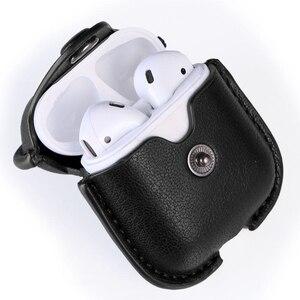 Image 5 - Funda blanda de lujo para Apple Airpods, Funda de cuero de lujo para AirPods 2 pro Earphone 3, funda negra con gancho para llavero