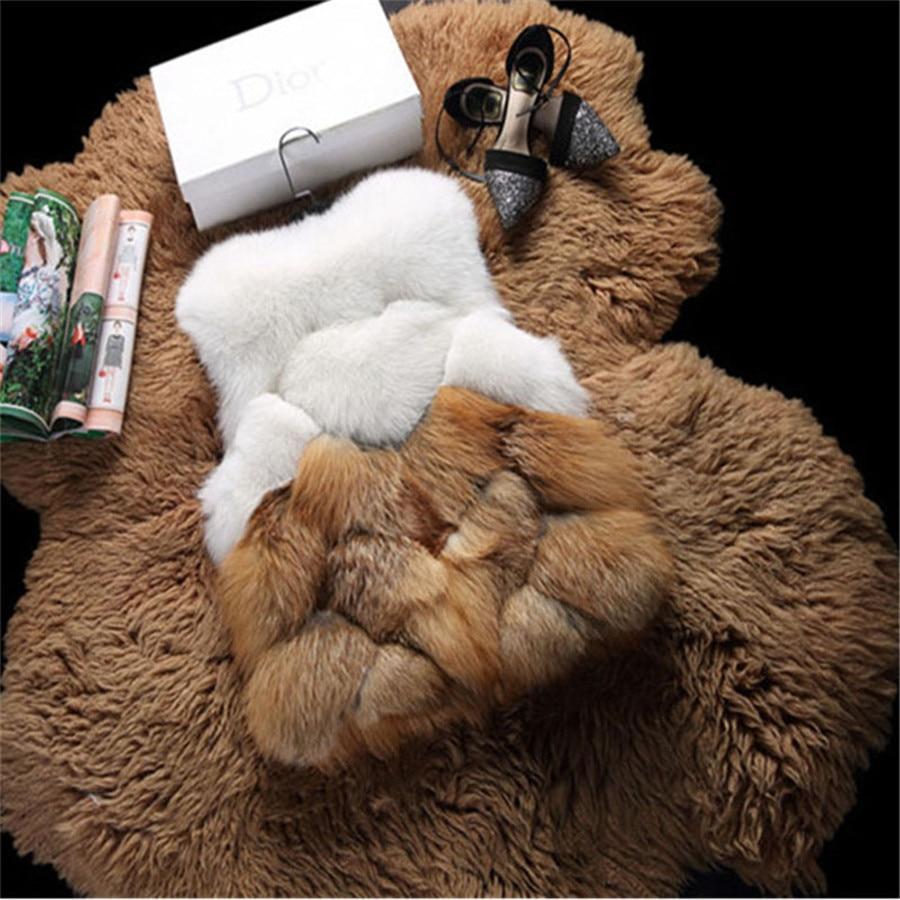 Мода 2016 года детей натуральным лисьим Мех животных жилет осень зима теплые Лоскутная короткий жилет пальто высокого качества лиса Мех живо