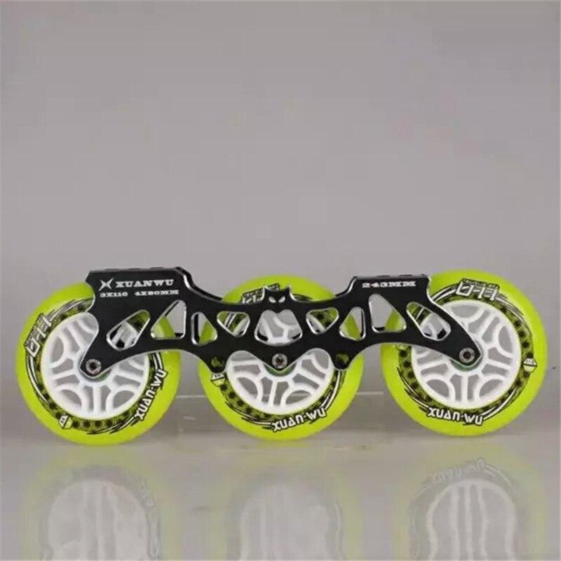 Cadre + roue + roulement 3X110mm cadre de patinage de vitesse en ligne Base de CNC en alliage Ultra léger 85A PU Rodas 608 ILQ-9 pour Powerslide CITYRUN