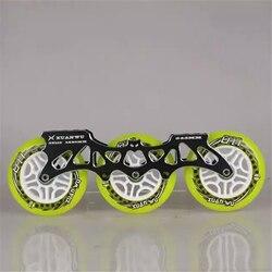 Quadro + roda + rolamento 3x110mm inline velocidade patinação quadro ultra leve liga cnc base 85a plutônio rodas 608 ILQ-9 para powerslide cityrun