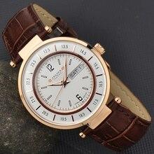 Julius Homme erkek izle japonya kuvars saatler moda Retro saat iş deri doğum günü noel baba hediye 059