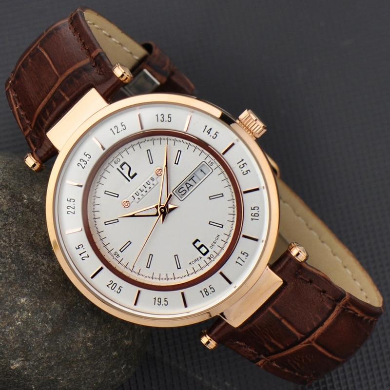 Julius Man Wrist Watch Quartz Hours Fashion Retro Business Dress Bracelet Leather Birthday Christmas Valentine Father
