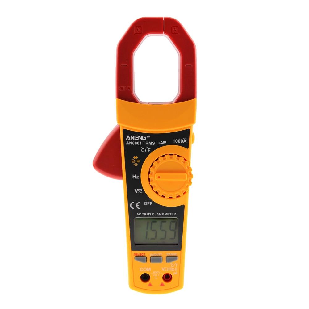 TRMS LCD Clamp Multimeter 6000 Counts w/ Backlight Temperature Voltage Current  Resistance Capacitance Meter Auto Range Ammeter