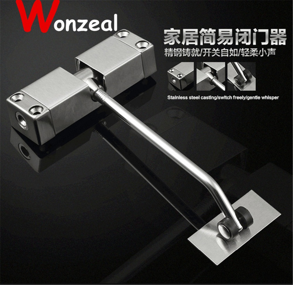 Stainless Steel Surface Mounted Spring Door Closer bear 20-30 KGS adjustable 9729 1pc automatic mounted spring door closer stainless steel adjustable surface door closer 160x96x20mm page 7