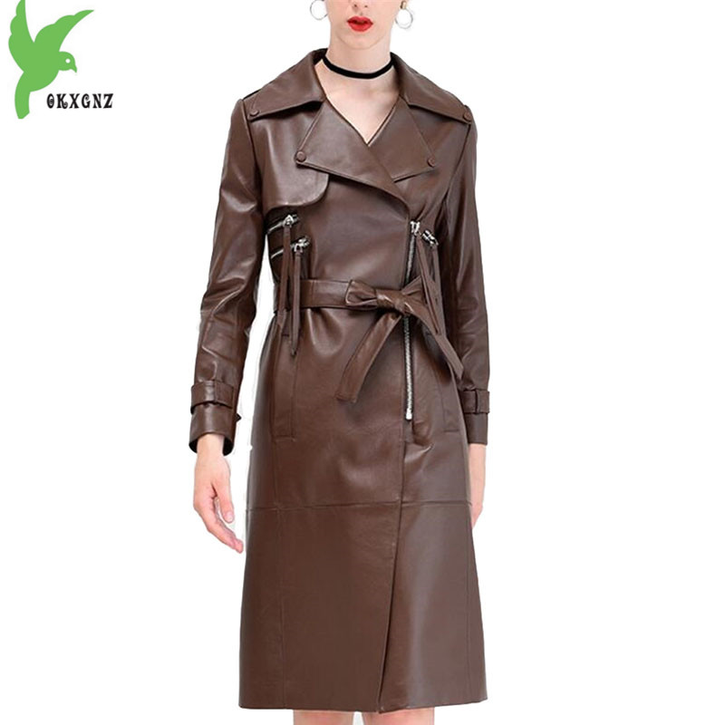 Leather   Jacket for Womens 2018 Spring Autumn High quality Sheepskin coat Plus size top Fashion Female Long   Leather   Jackets 1963