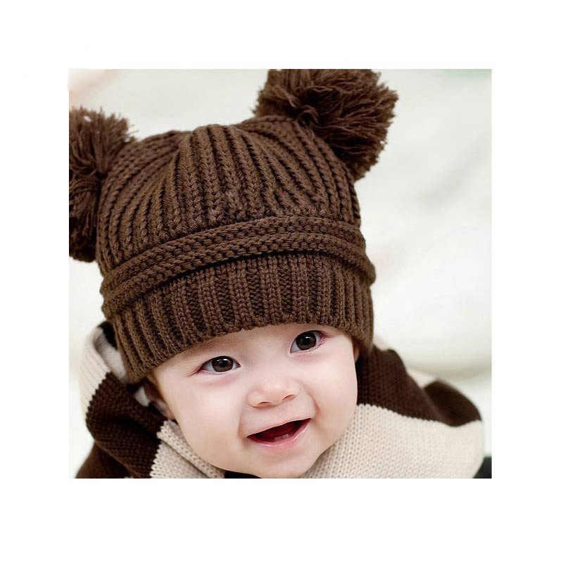 Dual Ball Knitted Baby Caps Boys Girls Toddler Crochet Beanie Hairball Ear Baby Hat Cute Children Caps Baby Hat For 3months 2y Baby Hat Knit Baby Cap Baby Cap Boy Aliexpress