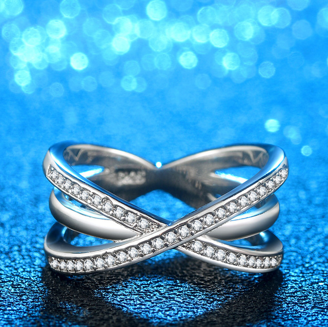 Fashion Solid 925 Silver Ring For Women Cross X Shape Exquisite Party Cocktail Ring Zirconia Micro Paved Silver Jewelry 2