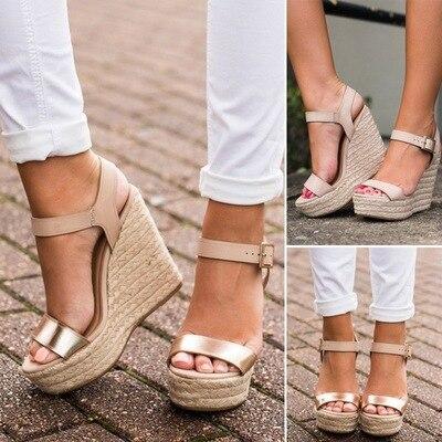Ladies Flat Platform Hemp Pu Leather Ankle Strap Sandals Shoes Women Wedge Platform Summer Sexy Party Sandals Shoes Size 34-43