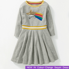 Autumn Winter Girl Clothing 2018 Brand New Girls Dresses Sequin Colour-Change Children Kids Clothes Cotton Christmas Costume