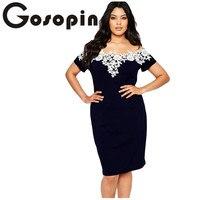 Gosopin Elegant Ladies Sexy Short Sleeve Lace Crochet Off Shoulder Blue Plus Size Pencil Dress Party