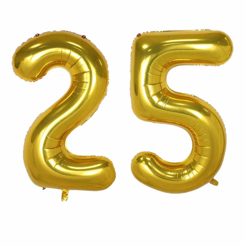 2PCS 100CM Big Size Number 25 Foil Helium Balloons Adults Party Rose Gold 25th Birthday