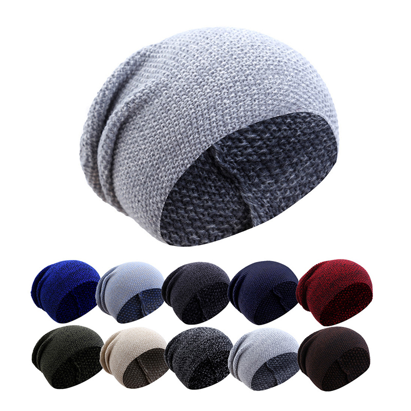 Plaid Knitted Hat Female Outdoor Casual Plain Skullies Bonnet Autumn Slouchy Baggy Beanies For Men Winter Cap Women's