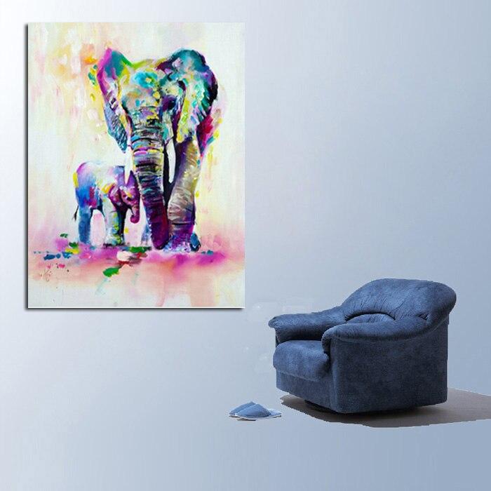 Handgemalte Tier Wandbilder Abstrakt Schöne Elefanten Kunst ...