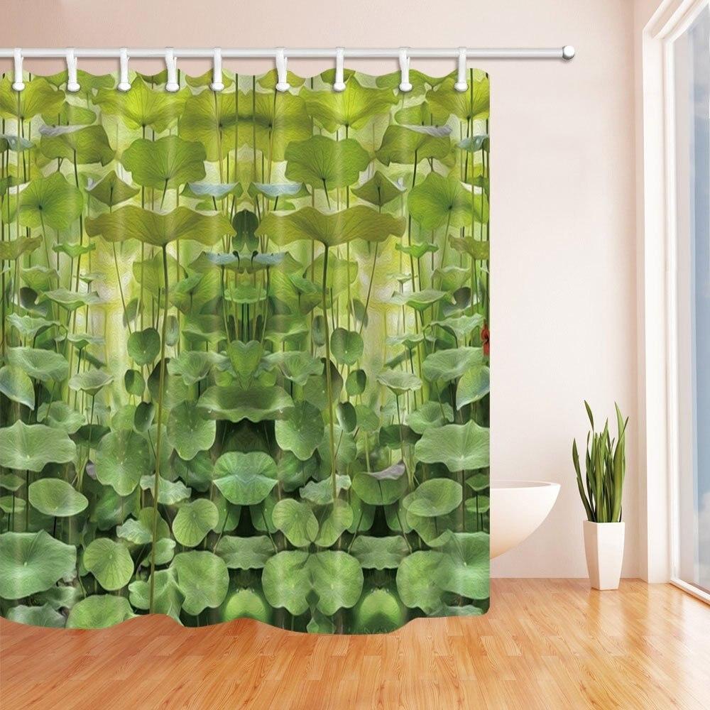Green Plants Small Lotus Leaves Vine Shower Curtain, Mildew Resistant Waterproof Polyester