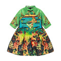 Niños Vestidos Para Niñas niños ropa Vestido de Princesa Europea nudo Chino collar vestir de manga larga vestido de jacquard pavo real
