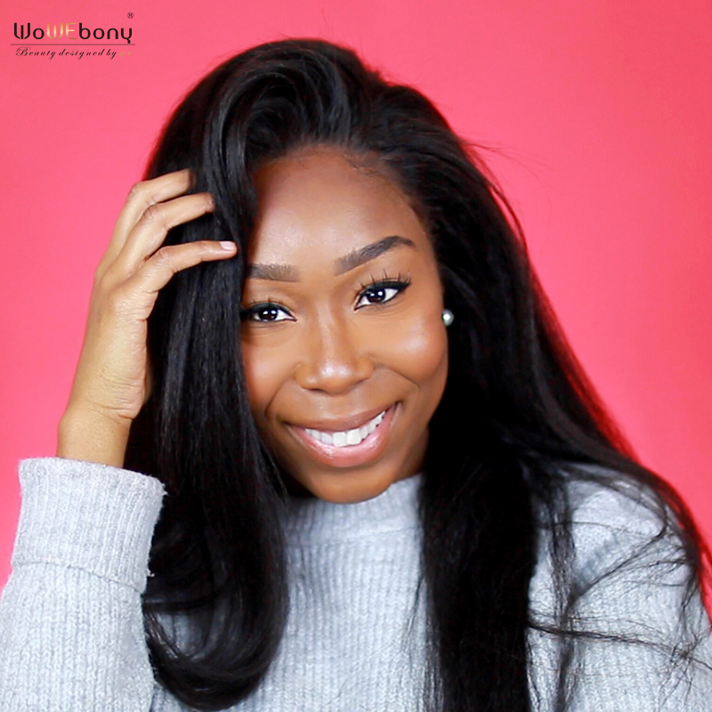 WoWEbony 360 Lace Wigs Indian Remy Hair Kinky Straight Human Hair Lace Wigs For Black Women Pre-plucked Hairline [360KS01]