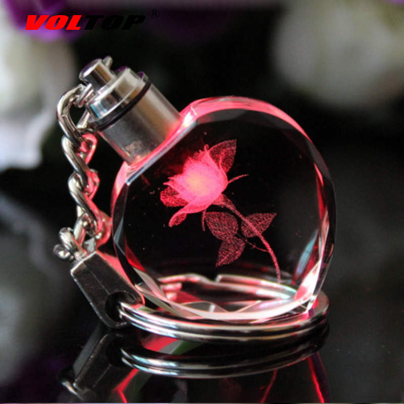 VOLTOP LED Crystal Rose Key Chain Car Ornaments Heart-shaped Pendant Fashion Cre