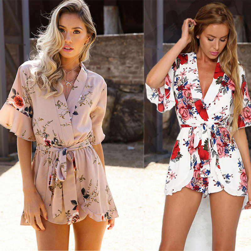Модный комбинезон с принтом, женские костюмы, повседневные Комбинезоны в богемном стиле, весенний Летний пляж, сексуальная одежда, Macacao Feminino