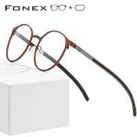 FONEX Alloy Optical Prescription Glasses Frame Men Ultralight Retro Round Myopia Eyeglasses Women Metal Full Screwless Eyewear