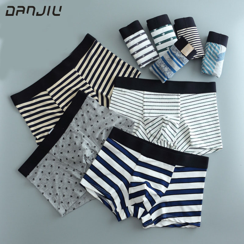 DANJIU Mens Fashion Cartoon Printing Underwear Men cotton Breathable Comfortable Boxer Shorts Male Soft Underpants Sexy panties