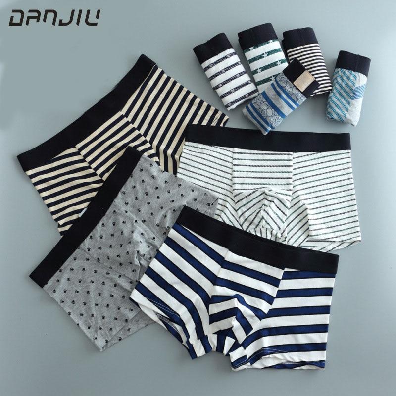 DANJIU Mens Fashion Cartoon Printing Underwear Men cotton Breathable Comfortable Boxer Shorts Male Soft Underpants Sexy panties