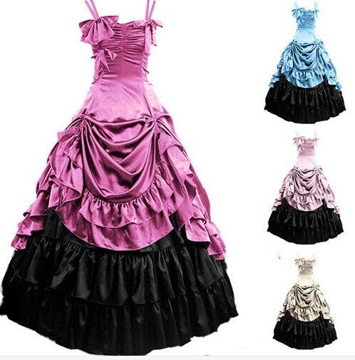 Amanda Lycra Zentai (GT021) Womens Sleeveless Party Cosplay Costume Satin Gothic Lolita Ball Gown Costumes Victorian Dress Customized