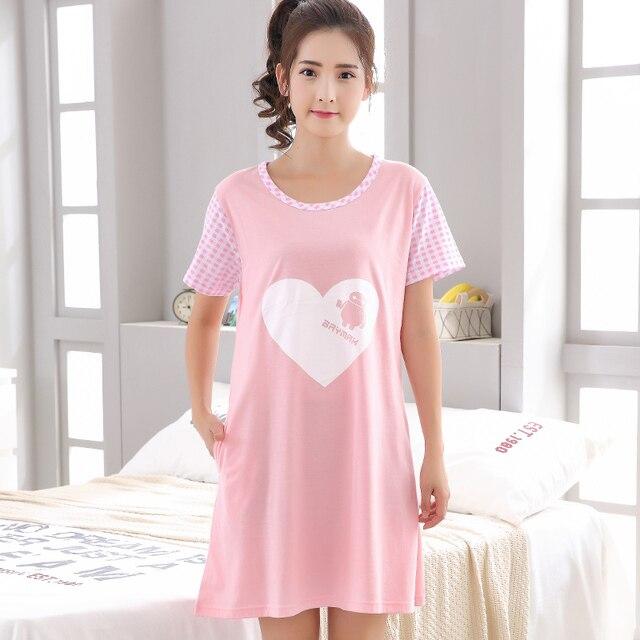 Summer Cotton Pink Nightgown Women Sweet Girl Loungewear Nightdress ...
