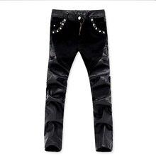 Новое поступление, повседневная мужская приталенная кожаная Штаны узкие джинсовые брюки 28 36 ACL73