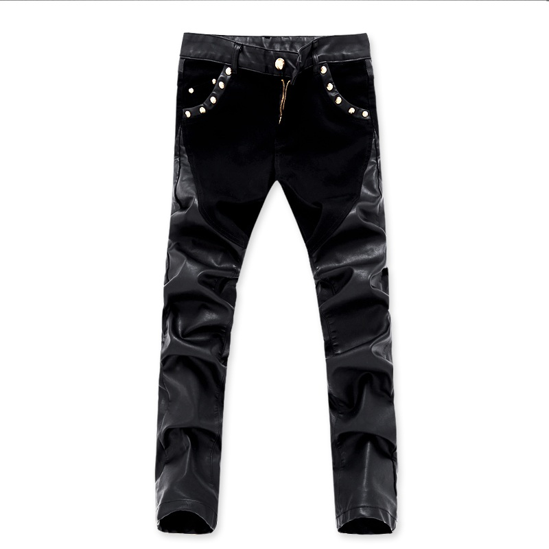 New arrivals casual men slim fit leather pants skinny denim jeans trousers 28 36 ACL73