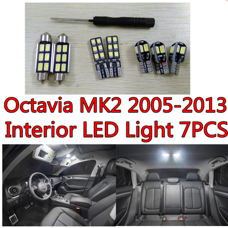 7pcs X free shipping Error Free LED Interior Light Kit Package for skoda octavia 2 A5 eaccessories 2005-2013 free shipping for skoda octavia sedan a5 2005 2006 2007 2008 left side rear lamp tail light