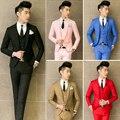 2015 hombres de la moda la ropa delgada 3 unidades trajes establece delgado novio vestido de boda abrigos trajes de la etapa cantante ropa
