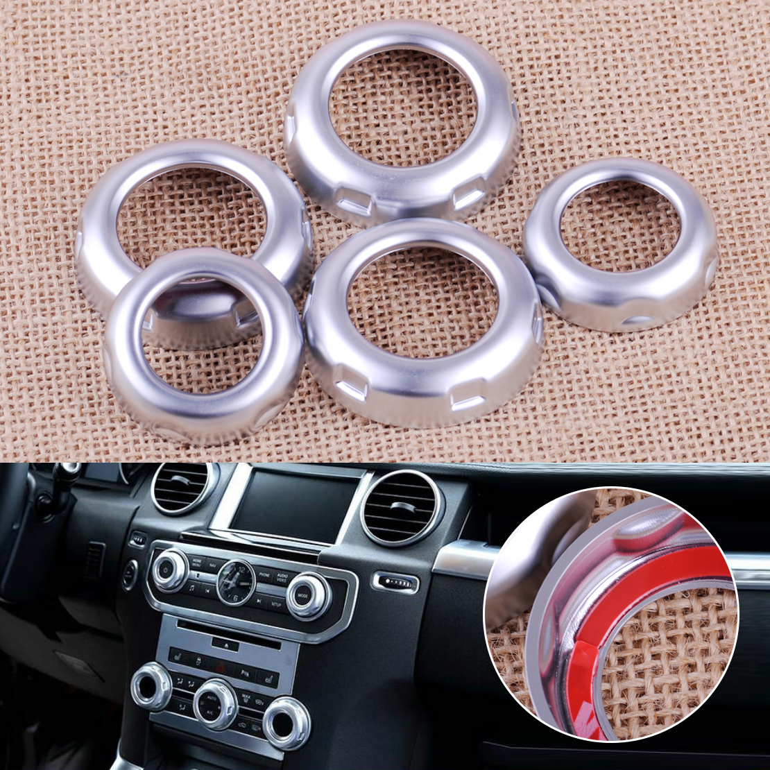 CITALL 5pcs ABS Chrome Car Dashboard Console Switch Button Ring Cover Trim fit for Land Rover Discovery 4 LR4 Range Rover Sport for land rover discovery 4 lr4 accessories abs dark wood grain center console ac outlet cover trim sticker for lhd 2pcs set