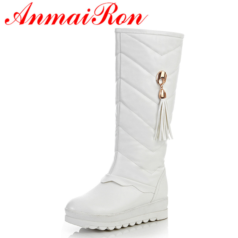 ANMAIRON White Shoes Woman Low Heels Wedges Mid-calf Boots for Women Tassel Round Toe Winter Boots Platform Shoes Snow Boots стоимость