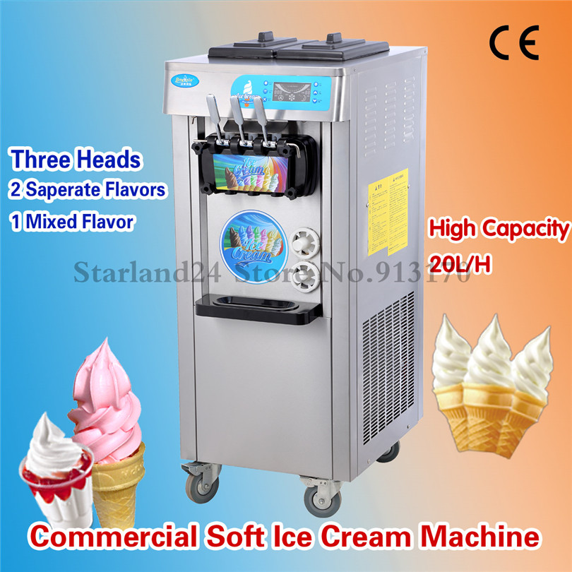 Commercial Soft Ice Cream Machine Colorful and Stainless Steel Ice Cream Making Machine 20L Capacity 220V LED display Brand New недорого