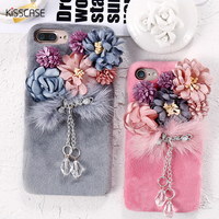 Rhinestone Pendent Case For IPhone 7 Plus Flower Plush Mink Fur Cases For IPhone 7 Plus