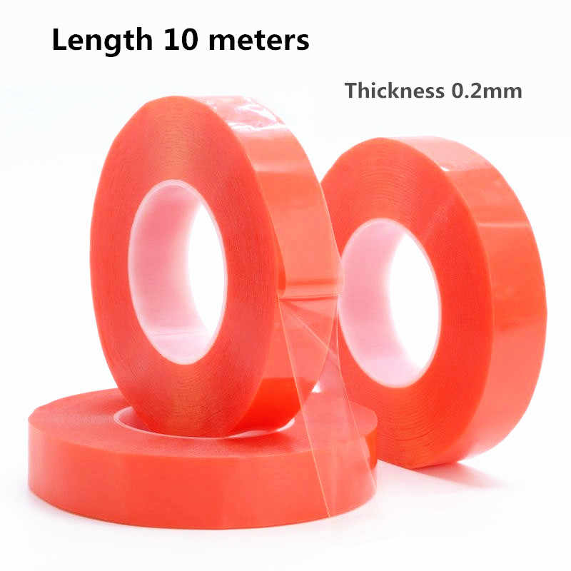 1 rollo fuerte de 0,2mm de espesor 10 metros de acrílico adhesivo cinta de doble cara para reparación de teléfono tableta lente de pantalla LCD del coche de la pantalla de pasta