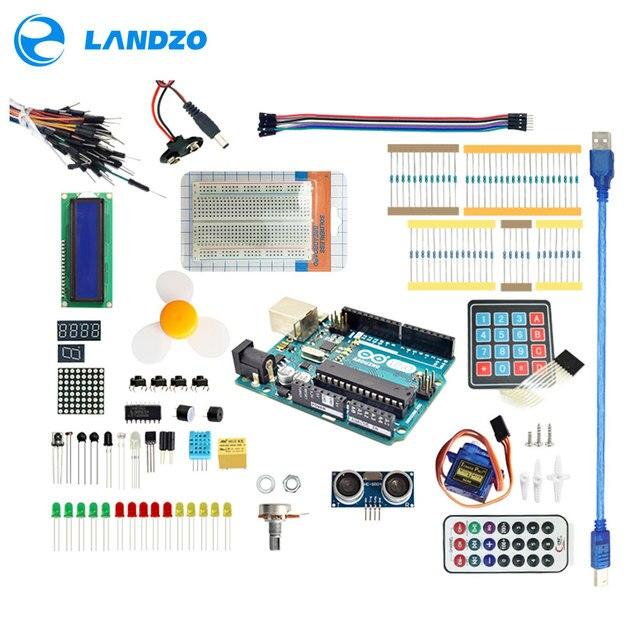Arduino Starter Kit para arduino Uno R3-9G Servidor/sensor de arduino/1602 LCD/jumper/UNO R3/Resistor
