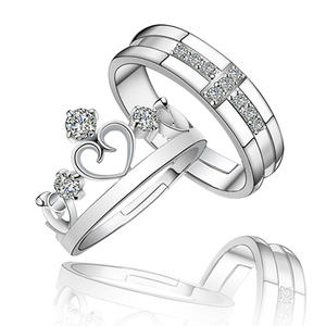 Queen King Silver Color Couple Rings for Women Men Gift Lover' Ring Valentine's Day