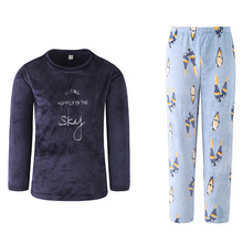 QWEEK Autumn Winter Flannel Couples Pajamas Set Long Sleeve Mens Sleepwear Velvet Thick Male Pajamas Comfortable