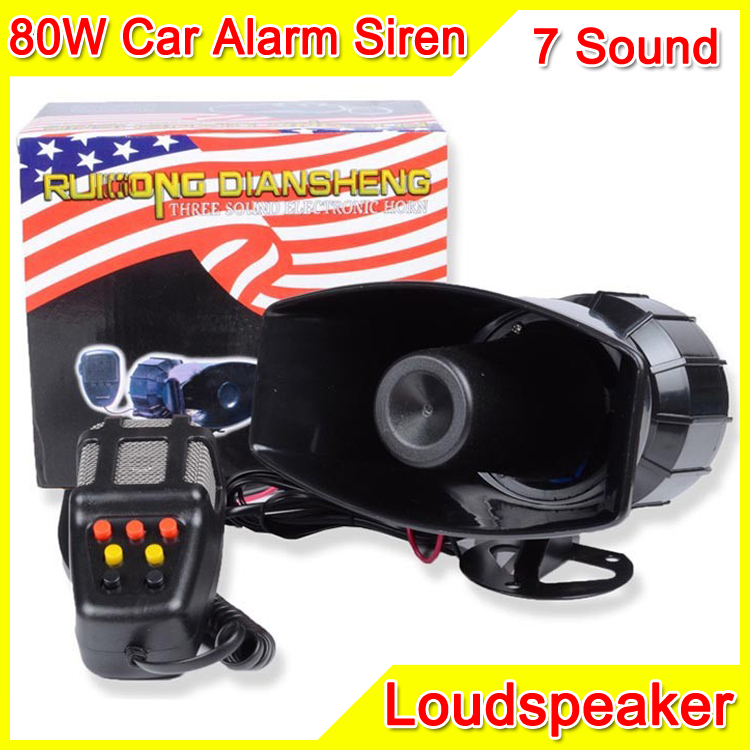 100W 7 Sound 12V Car Electronic Warning Siren Motorcycle Alarm Police Firemen Ambulance Loudspeaker With MIC Police Siren
