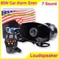 80 W 7 sonido de alerta electrónica sirena de alarma de la motocicleta policía bomberos ambulancia altavoz con MIC policía sirena