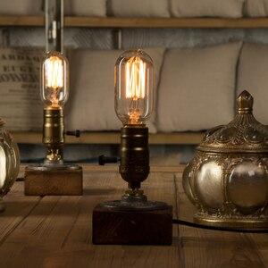 Image 3 - Dimmer Vintage Industrial Decor Table Light Edison Bulb Wood Desk Lamp Retro Home Decor Lighting Antique Nightlight Art Display