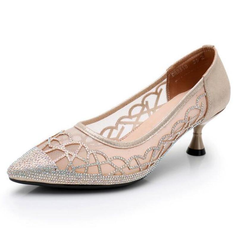 Spitze Schwarzes Strass Mode Sommer Non slip Hohe Atmungsaktive Neueste Schuhe 2019 Ferse Sandalen silber Mesh Frauen gold gw6Ox